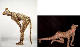 Catsuit do lycra do leopardo on-line-terno sexy Zentai Lycra Catsuit fullboby Tigre / leopardo S - XXL.