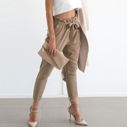Wholesale High Waist Pleated Pants - 2017 Womens Pencil Pants Ankle Length Stretchy Bandage Bow High Waist Jogger Leggings Loose Casual Pencil Pants Trousers Fashion