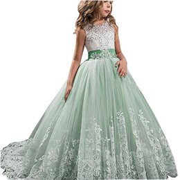 Wholesale Girls Pageant Dresses Mint - Chic Mint Lace 2018 Tailed Flower Girl Dresses Ball Gown Pageant Dress Crystal Sash Vestidos De Primera First Comunion Kids Prom Dress
