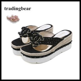 Wholesale pink polka dot straws - Designer shoes rhinestone platform high heel wedges slipper flip flip summer women sandals pink black size 34 to 40