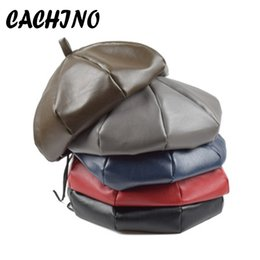 2019 berretti rossi militari CACHINO New PU Leather Beret Hats Flat Female Boina Feminina Fashion Cap Bone Gorras Painter