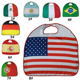 Wholesale Party Supply Usa - New World Cup Flags Capes USA Italy Germany National Single-Layer Flag Cloak Cape Cosplay Party Celebrate Decoration Supplies WX9-516