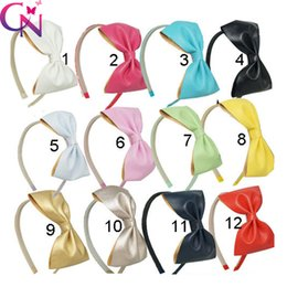 Wholesale Rainbow Hair Flowers - High Quality New Fashion Handmade Boutique Leather Bow Rainbow Chiffon Flower Hairband with Teeth for Girls Kids Hair Accessories