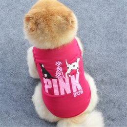 Wholesale Dog Shirt Large - 2018 Pink Letter Pet Dog Vest Clothes Puppy Cute Sweater Summer Shirt Coat jacket 4 Colors