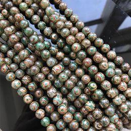 Wholesale tibetan dzi beads jewelry - 8 10 12 14 16mm Natural Agate Stone DZi Beads Round Green Three Eyes Tibetan Beads DIY Buddhism Jewelry Making Loose Bead