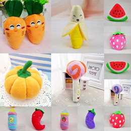 Wholesale Cartoon Vegetable - New Pet Chew Squeaker Squeaky Plush Sound Fruits Vegetables Feeding Dog Toys Suitable For Pet Bite Play