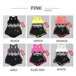 55d4ce4bd1 2018 PINK Tracksuit girl Summer Sport Wear Cotton Yoga Suit Fitness Short Pants  Gym Top Vest Pants Running Underwear Runner Outfits