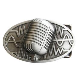 Microphone Rock Music Red Enamel Belt Buckle