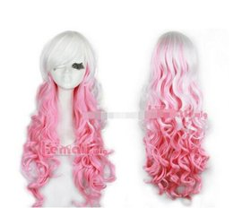 Peluca blanca de anime online-Free shipping ++++ Party Wig 65cm Classical Mix White Pink Anime Cosplay pelucas rizadas