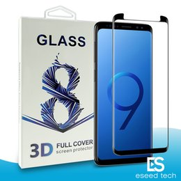 Wholesale Packaging Bubbles - For Samsung Galaxy S9 S8 Plus Note 8 S7 Edge Full Cover 3D Tempered Glass Case Friendly Bubble Free Screen Protector With Package