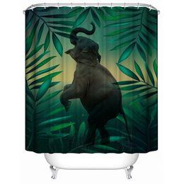 Rideau de douche moderne sur mesure 3D Elephant Print tissu imperméable à l'eau écologique Rideaux de salle de bain avec 12 crochets 180 cm * 180 cm ? partir de fabricateur
