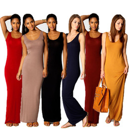 Wholesale Basic Dresses - Fashion Women Sexy Basic Dresses Sleeveless Slim Vest Tanks summer dresses Bodycon maxi Dress Strap Solid Party Dress women clothes CL475