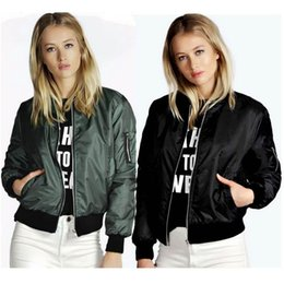 Wholesale Fitted Outerwear - Women Jackets 2018 Spring Autumn Thin Tops Basic Bomber Jacket Long Sleeve Coat Casual Stand Collar Slim Fit Outerwear