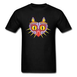 Уникальный Meowjoras Маска кошка печати с коротким рукавом футболки мужчины топ футболки хлопок ткань легенда игры группа униформа от