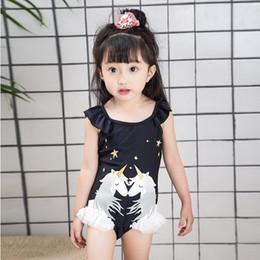 Wholesale Tutu Wholesale Korean Kids - Vieeolove 2018 new Korean kids swimwear kids bathing suits swan Unicorn swimming beach swimming girls tutu lace One-piece swimsuits VL-1053