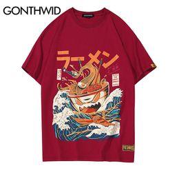 Bande dessinée drôle en Ligne-GONTHWID Japonais Drôle Cartoon Ramen Imprimé À Manches Courtes T Shirts Streetwear Mode Casual Hip Hop Tshirts Tops Tees