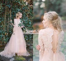 Wholesale Long Black Chiffon Skirt Elegant - Floral Lace Top Illusion Bodice Beach 2018 Wedding Dress Sexy Elegant Sheer Neck High Splits Pleated Chiffon Bohemia Bridal Gowns Open Back