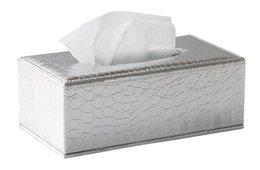 Titular de papel higiénico cubierto online-rectángulo de madera blanco croco cuero coche de bombeo de tejido caja de la servilleta caja de papel higiénico dispensador titular de la cubierta de almacenamiento PZJH002