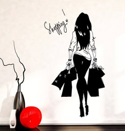 Wholesale Clothing Stickers For Kids - Girl Young Woman Shopping Bag Clothes Shop Vinyl Wall Decal Wall Sticker Clothes Store Sexy Shopping Girl Bedroom Decoration