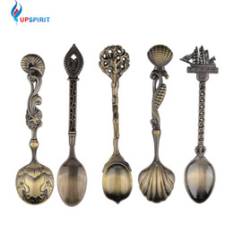 Wholesale Mini Snack - 5 Pcs  Set Kitchen Dining Bar Vintage Royal Style Bronze Carved Small Coffee Spoon Flatware Cutlery Mini Dessert Spoon For Snacks