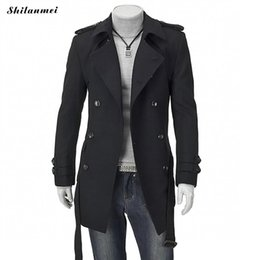 Wholesale Grey Suit Black Collar - Winter Trench Coat for Men Black Mid Long Coats with Belt Suit Collar Thermal Gray Men Outwear Doublt Breasted Casual Overcoat