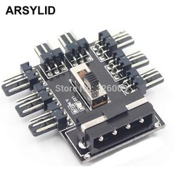 Wholesale Computer Fan Controllers - ARSYLID Fan Hub Computer SATA D-4P 1 to 8 Multi Splitter Cooler Cooling 3pin 12V Power Socket Adapter 2 Level Speed Controller