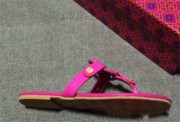 Wholesale White Open Heels - Mei Red Genuine Leather Brand New Shoes Women Thong Sandals Summer Women Beach Sandals Famous Flip Fllops