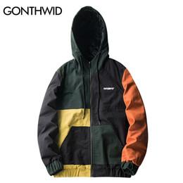Wholesale Vintage Hooded Sweatshirts - GONTHWID Vintage Color Block Patchwork Hoodie Jackets Mens 2017 Hip Hop Full Zip Up Hooded Sweatshirt Jacket Coats Streetwear