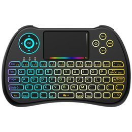 Wholesale Google Tv Mouse - 2.4GHz Colorful Backlit Mini Wireless Keyboard with Mouse Touchpad Rechargeable Combos for PC, Pad, Google Android TV Box and More