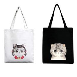 Wholesale Plain Trolley - Cute Cat Reusable Supermarket Trolley Fashion Canvas Shopping Bag Environmental Protection Storage Bag Large Capacity Handbag