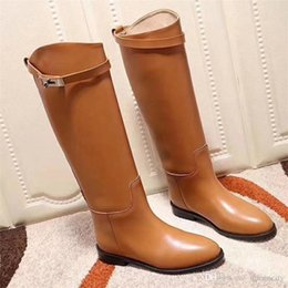 bb1117c8489b 2018 Best Quality Plus Genuine Leather Buckle Knee High Boots H Black  Luxury Classic Flat Riding Boots Women Casual Shoes