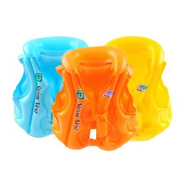 Wholesale pvc vest - Kid Safety Float Inflatable Swim Vest Life Jacket Swimming Inflatables Multiple Stoma Air Leakage Lette Strong sealing