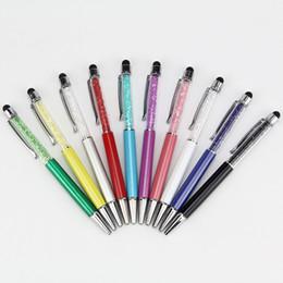 Stylo à bille en cristal coloré en 2 capacitif tactile stylet pour ipad iphone 7 6 5S HTC Samsung téléphones 50pcs / lot ? partir de fabricateur