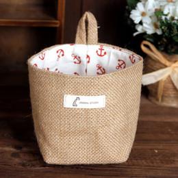 Wholesale Mini Jute Bags Wholesale - Wholesale Zakka style storage box jute with cotton lining sundries basket mini desktop storage bag hanging bags 1pcs Free Ship