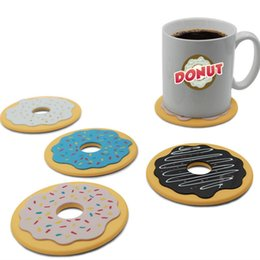 Wholesale Neoprene Beer - 4pcs set Round Donut Coaster Drink Bottle Beer Beverage Cup Mat Pads Plastic Coasters Kitchen Table Decoration Accessories IB640