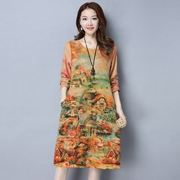 Wholesale natural style landscaping - 5 Style New Fashion National Landscape Pattern Print Long Sleeve Party Club Casual Dress Plus Size Women Loose Spring Autumn New