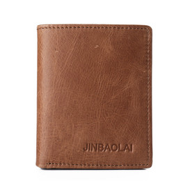 Wholesale Cards Design Handmade - Selling 100% Genuine Fashion Casual Business Leather Wallet Design Card Holder Short Wallet Brown Leather Handmade Pocket Credit Card Wallet