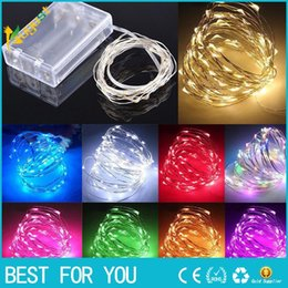 Wholesale Thin Copper Wire - New hot 1pcs 10M 100 LED Battery Micro Rice Wire Copper Fairy String Lights for Xmas Wedding Christmas Party Decoration