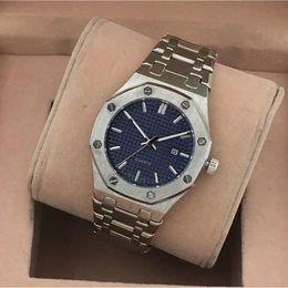Hot top brand relojes para hombre Royal Oak correa de acero inoxidable reloj de cuarzo oro rosa esfera azul daydate moda reloj de pulsera impermeable diseñador A desde fabricantes