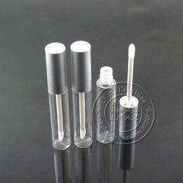 2019 dekorierte plastikflaschen 225 teile / los 10 ml kosmetische paket lipgloss flasche matt silber kappe leere lipgloss container