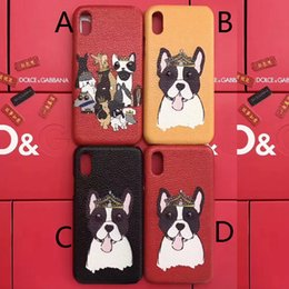 Wholesale Crown Iphone Case Cover - Luxury brand printing Leather texture cute crown puppy dog phone case for iphone 7 7plus 8 8plus hard back cover for iphone X iphone 10