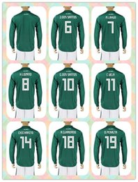 Wholesale r 17 - Customized Uniforms Kit 2018 World Cup Country Jersey Mexico #4 R. Marquez #7 M.Layun 10 G. Dos Santos Green Home Long Sleeve 17-18 Jerseys