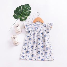 Wholesale Little Girl Boutique Wholesale - Girls Ruffle Sleeves Floral Dresses Summer 2018 Kids Boutique Clothing Euro America INS 1-4T Little Girls Cotton Flower Print Dresses