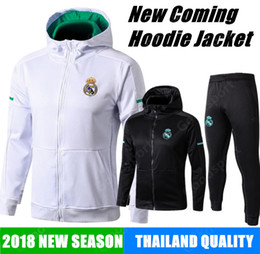 Wholesale Real Gold Men - 2018 REAL MADRID JACKET Training HOODIE KITS outfits TRACKsuits Soccer Jersey Ronaldo ASENSIO Football SERGIO RAMOS sweaters