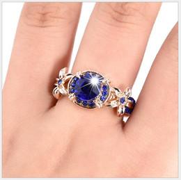 Les femmes de la mode classique saphir or rose complet diamant bague de fiançailles bague bijoux fleur bague ? partir de fabricateur