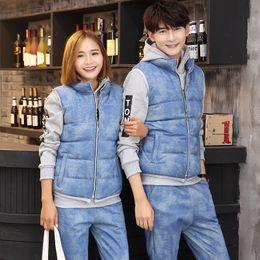 Wholesale Korean Hoodie Sets - Korean Winter Couples Clothing Sweatshirt Hoodies Set Men Women Warm Coat Lovers Clothes Sport Suits