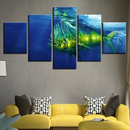 Wholesale fish oil wall paintings - Home Decor Living Room Printed Modern Canvas HD 5 Panel Fish Bottom Of The Sea Pictures Painting Wall Modular Frame Poster Art