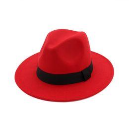 Abiti i cappelli per la chiesa online-Cappello a tesa larga Panama Cappello di feltro di lana Cappello di lana per uomo Cappello di lana Fascinator Trilby