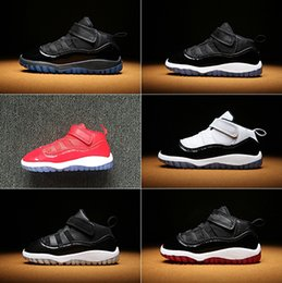 Wholesale Lace Fabric Baby Shoes - 2018 Traderjoes With Box Baby Basketball Shoes 11S Sneakers for Infant Space Jam Win Like 96 Concord High Youth Size Euro 22-27