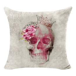 Wholesale Wolf Pillow Covers - High Qulity Cotton Linen Elephant skull wolf Printed Decorative Cushion Cover Pillow Case Car Seat 45*45cm PillowcaseAEI-135